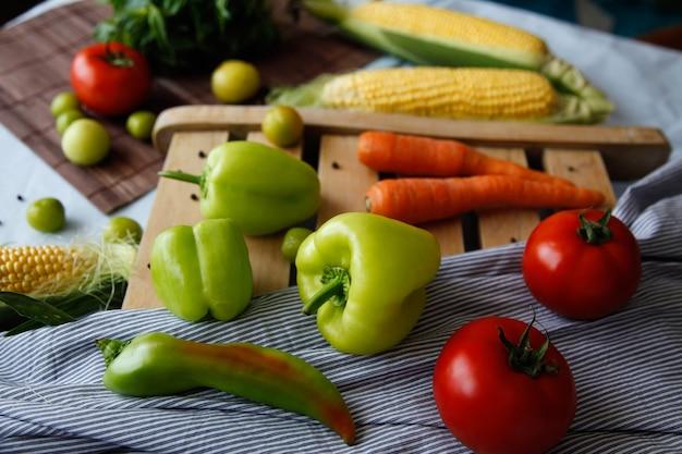 Flatlay of fresh vegetables