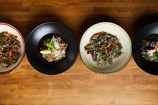 동양 요리의 평평