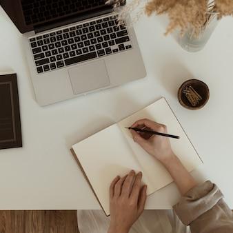ノートシートに書いている女性の手のフラットレイ。快適なホームオフィスワークスペースのインテリアデザイン