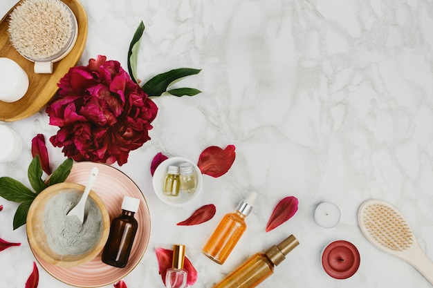 Flatlay of various beauty, bath and spa products