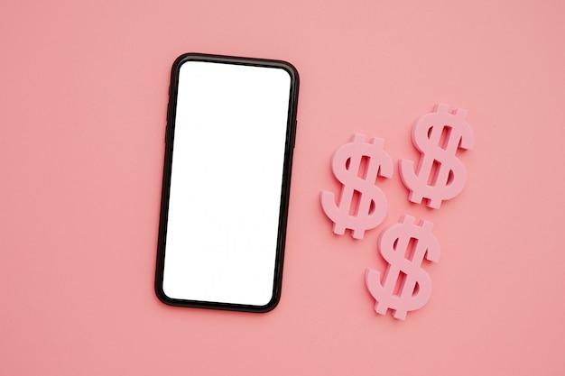 Мобильный телефон и символ американского доллара, деньги и технологии flatlay