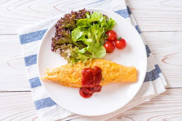 Flavored fried rice in an omelet wrapping