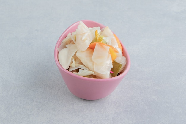 Flavorful pickled vegetable in the bowl