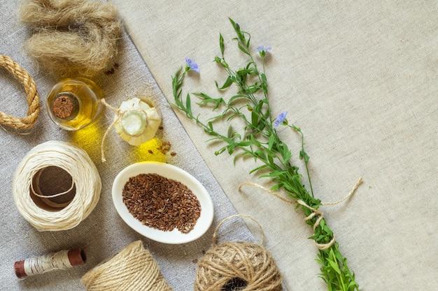 亜麻製品、亜麻織物、ロープ、糸、亜麻仁油、亜麻仁、開花亜麻