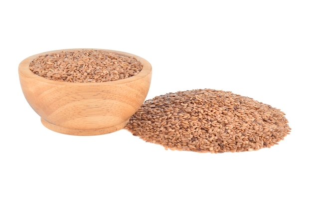 Flax seed on white background.