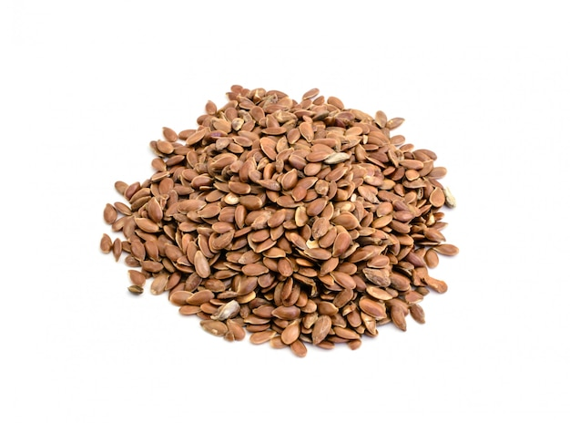 Flax seeds isolated white