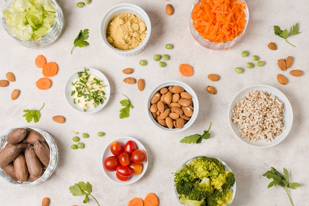Flay lay of assortment of healthy food in bowl