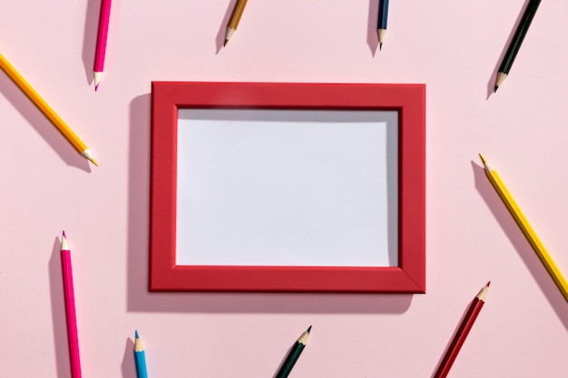 Flay lay back to school elements with frame