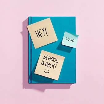 Flay lay back to school elements with sticky notes