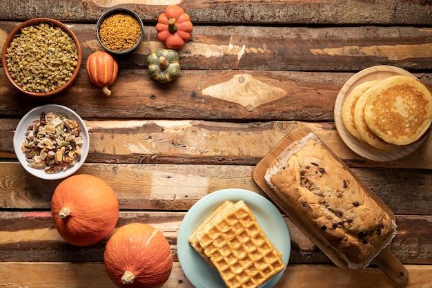 Flay lay fall season food assortment