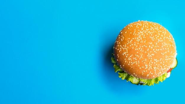 Flay lay of hamburger with copy space