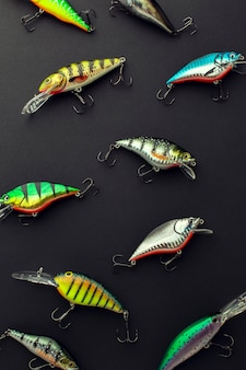 Flay lay pf multicolored fishing bait