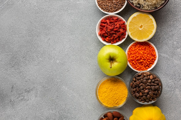 Flay lay of spices with copy space