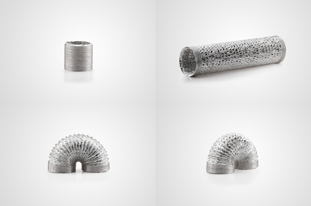 Flexible air duct made of aluminum foil on white background. series from different angles