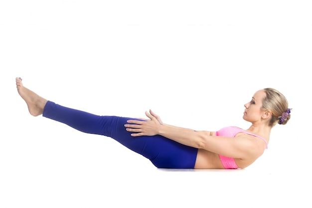 Flexible girl improving her resistance