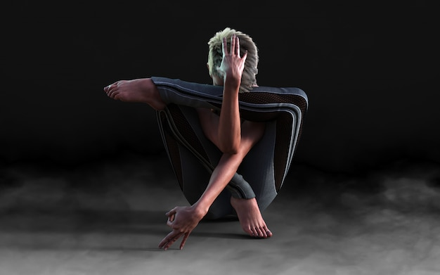 Flexible woman dancing and posing in the dark with smoke