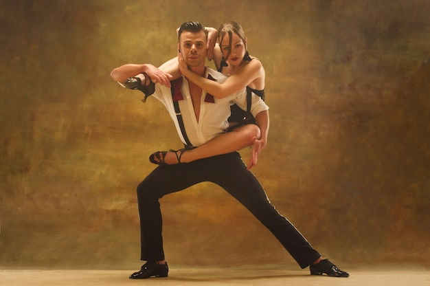 Flexible young couple dancing pasadoble in studio fashion portrait of attractive man and woman