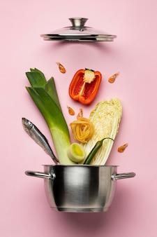 ビューの上の準菜食主義の食事療法および鍋