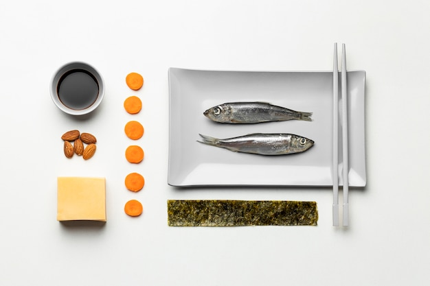準菜食主義の食事療法の配置フラットレイ Premium写真