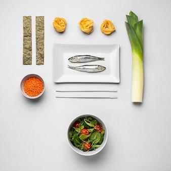 準菜食主義の食事療法の上面図