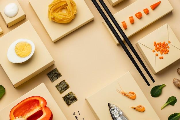 準菜食主義の食事の品揃えの上面図