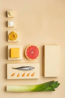 魚のフレームを使った準菜食