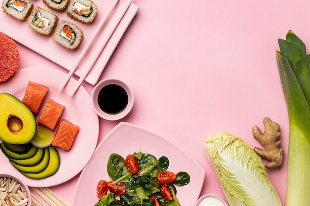 魚、野菜、果物を使った準菜食