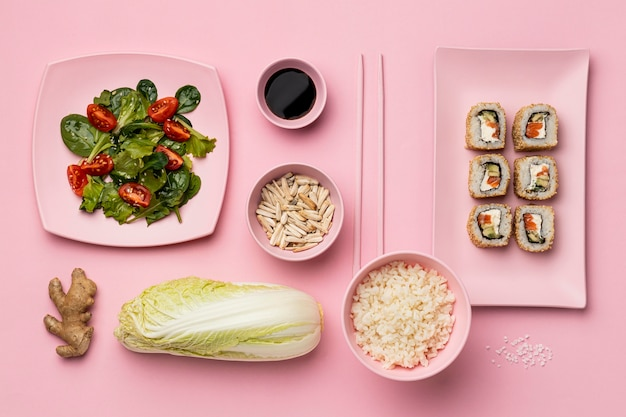 Flexitarian diet with sushi flat lay