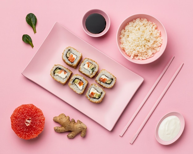 Flexitarian diet with sushi top view