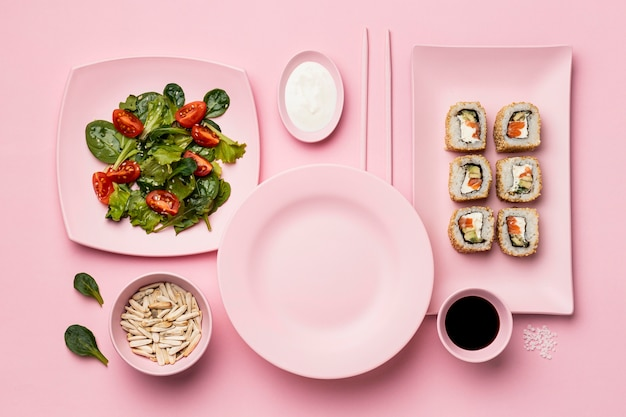 Flexitarian diet with sushi above view