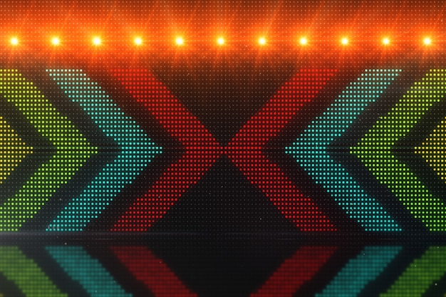 Flickering light background with arrows. abstract digital backdrop. technology 3d rendering.