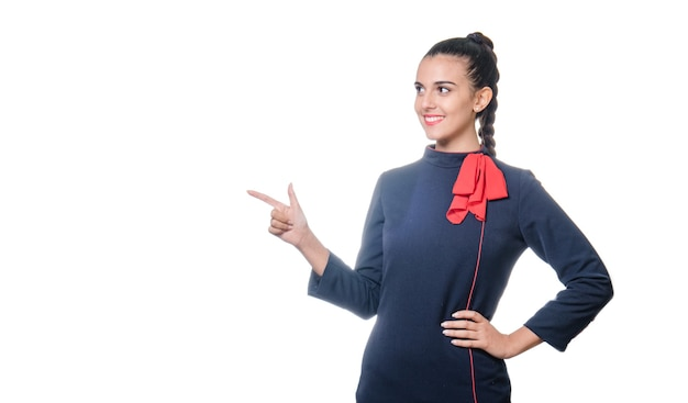 Flight attendant showing copy space on white background