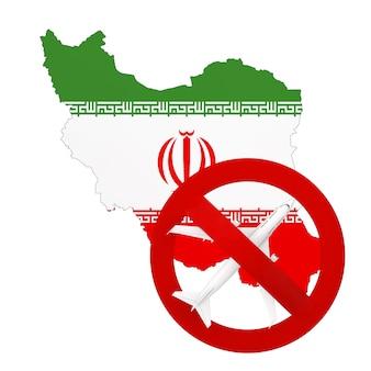 코로나바이러스 covid-19로 인해 이란을 오가는 항공편이 금지됩니다. 흰색 바탕에 빨간색 금지 기호가 있는 국기와 비행기가 있는 이란 지도. 3d 렌더링