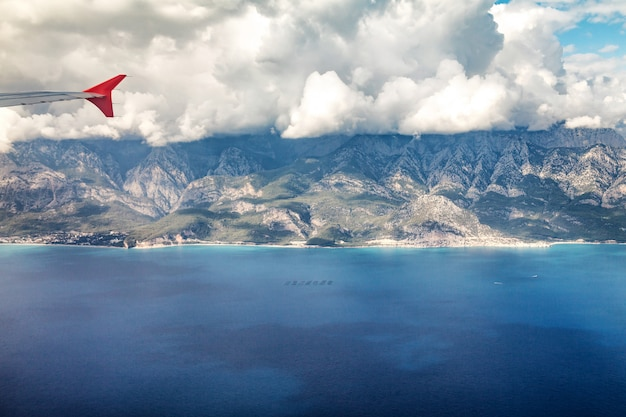 Flight by plane over the mountains of turkey