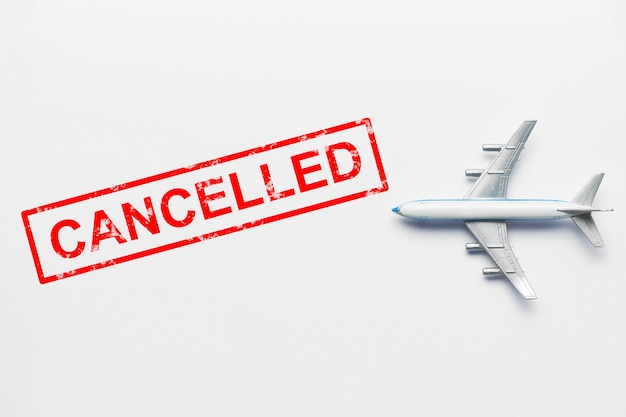 Flight cancelled concept due to pandemic and virus