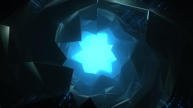 抽象的な未来的なトンネルを飛行