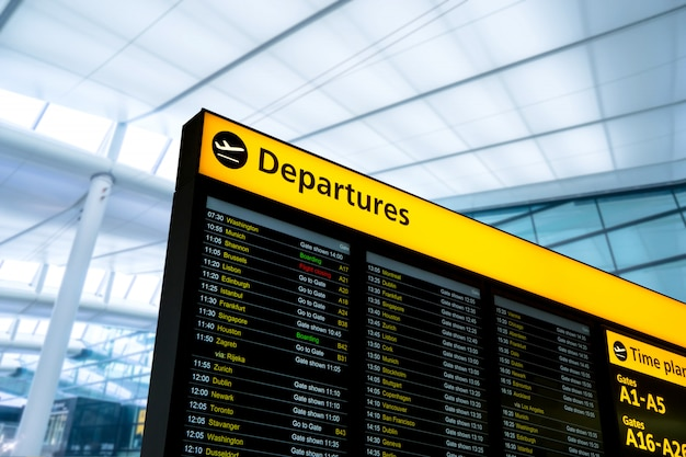 Flight information, arrival, departure at the airport, london, england