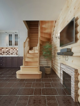 The flight of stairs in the kitchen dining room log cabin interior