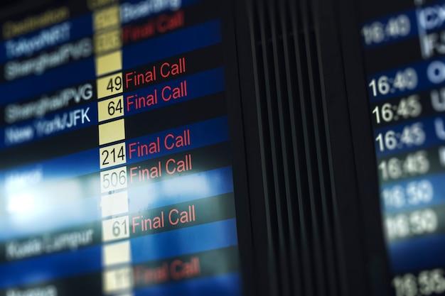 Flight status board at the airport