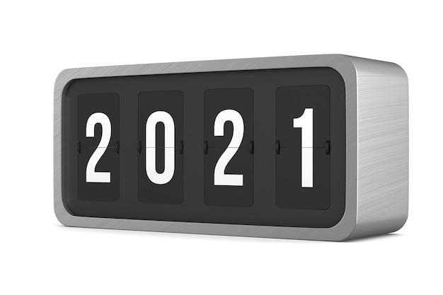 Flip black scoreboard 2021. isolated 3d rendering