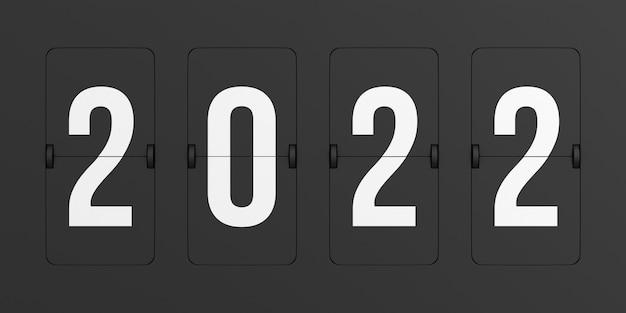黒のスコアボード2022を反転します。3dイラスト