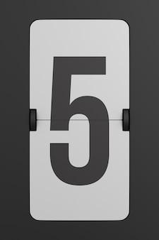 Flip black scoreboard number. 3d