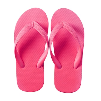 Flip flop beach sandals pink isolated on white