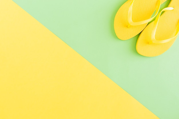 Flip-flops on multicolored background