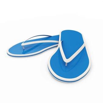白で隔離されるフリップフロップの靴
