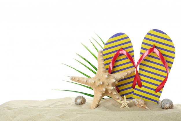 Flip flops with starfish, seashells and palm leaf on clear sea sand isolated on white background. summer vacation