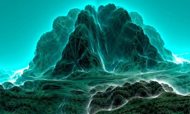 Перевернутый фрактал horizons: абстрактный рендер инопланетных скал и неба. 3d-рендеринг.