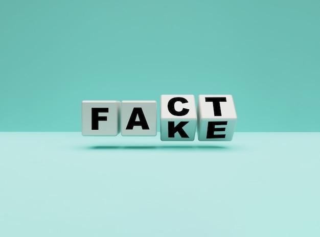 青い背景の「偽物」から「事実」への表現を変更するための白い立方体の反転、3dレンダリング。