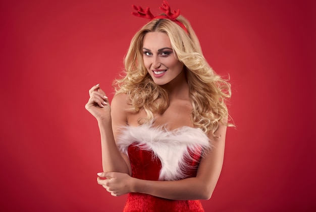 Flirty sight of sexy woman santa claus