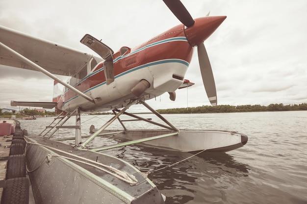 Float plane in the lake, alaska